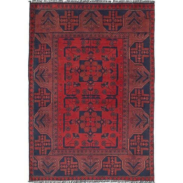 Lelia Hand-Knotted Rectangle 100% Wool Red Indoor Area Rug by Bloomsbury Market